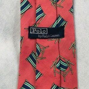 Polo Ralph Lauren Silk Necktie USA Beach Chairs
